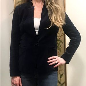 Dark navy blue velvet one-button blazer